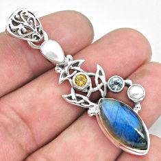 12.53cts natural blue labradorite topaz 925 sterling silver pendant p59240