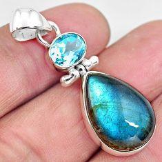 14.23cts natural blue labradorite topaz 925 sterling silver pendant p87721