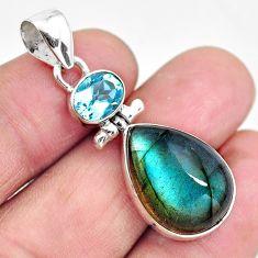 16.20cts natural blue labradorite topaz 925 sterling silver pendant p87724