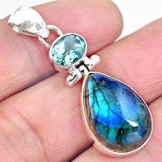 13.70cts natural blue labradorite topaz 925 sterling silver pendant p87730