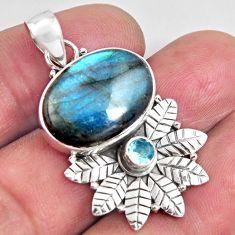 14.12cts natural blue labradorite topaz 925 sterling silver pendant p90376