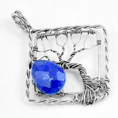 6.39cts natural blue lapis lazuli 925 silver tree of life pendant p43062