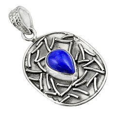 4.38cts natural blue lapis lazuli 925 sterling silver pendant jewelry p78470