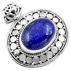 10.26cts natural blue lapis lazuli 925 sterling silver pendant jewelry p86641