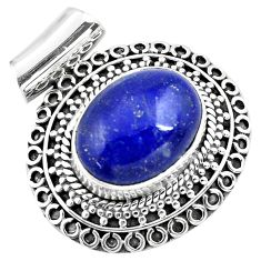 10.18cts natural blue lapis lazuli 925 sterling silver pendant jewelry p86642