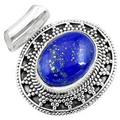 10.26cts natural blue lapis lazuli 925 sterling silver pendant jewelry p86647