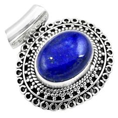 10.26cts natural blue lapis lazuli 925 sterling silver pendant jewelry p86650