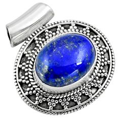 9.71cts natural blue lapis lazuli 925 sterling silver pendant jewelry p86651