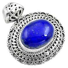 9.44cts natural blue lapis lazuli 925 sterling silver pendant jewelry p86653