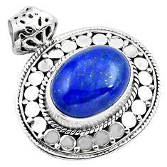 10.16cts natural blue lapis lazuli 925 sterling silver pendant jewelry p86654