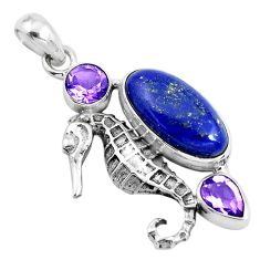8.55cts natural blue lapis lazuli amethyst 925 silver seahorse pendant p41905