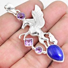 9.99cts natural blue lapis lazuli amethyst 925 silver unicorn pendant p59311