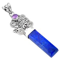 15.93cts natural blue lapis lazuli amethyst 925 sterling silver pendant p52141