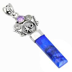 17.39cts natural blue lapis lazuli amethyst 925 sterling silver pendant p52144