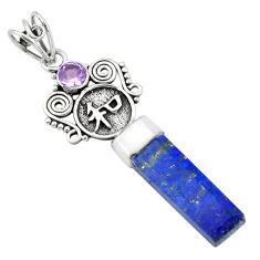 13.27cts natural blue lapis lazuli amethyst 925 sterling silver pendant p58841