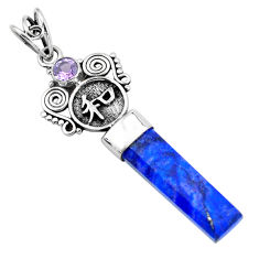 13.87cts natural blue lapis lazuli amethyst 925 sterling silver pendant p58847