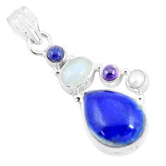 14.26cts natural blue lapis lazuli moonstone 925 sterling silver pendant p64343