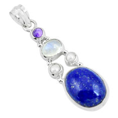 15.16cts natural blue lapis lazuli moonstone 925 sterling silver pendant p64346