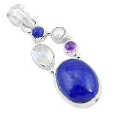 14.26cts natural blue lapis lazuli moonstone 925 sterling silver pendant p64348