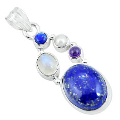 14.26cts natural blue lapis lazuli moonstone 925 sterling silver pendant p64355