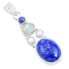 14.26cts natural blue lapis lazuli moonstone 925 sterling silver pendant p64357