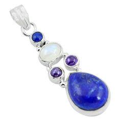 14.90cts natural blue lapis lazuli moonstone 925 sterling silver pendant p64358