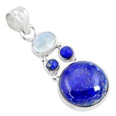 15.55cts natural blue lapis lazuli moonstone 925 sterling silver pendant p70421