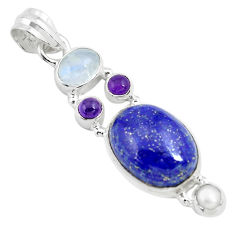 14.12cts natural blue lapis lazuli moonstone 925 sterling silver pendant p70422