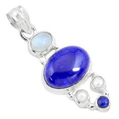 14.12cts natural blue lapis lazuli moonstone 925 sterling silver pendant p70430