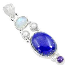 13.28cts natural blue lapis lazuli moonstone 925 sterling silver pendant p70431