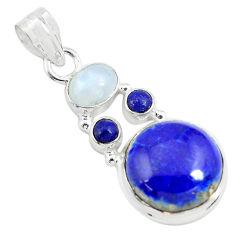 13.85cts natural blue lapis lazuli moonstone 925 sterling silver pendant p70436