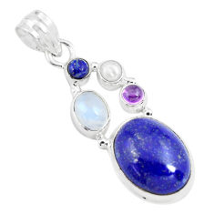 14.12cts natural blue lapis lazuli moonstone 925 sterling silver pendant p70438