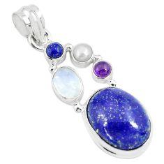 13.71cts natural blue lapis lazuli moonstone 925 sterling silver pendant p70441