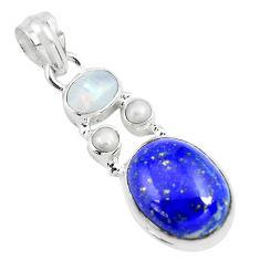 12.83cts natural blue lapis lazuli moonstone 925 sterling silver pendant p70444