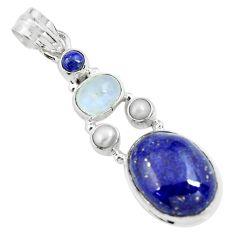 13.71cts natural blue lapis lazuli moonstone 925 sterling silver pendant p70446