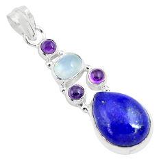 12.36cts natural blue lapis lazuli moonstone 925 sterling silver pendant p70449