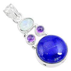 14.40cts natural blue lapis lazuli moonstone 925 sterling silver pendant p70450