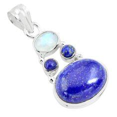 13.27cts natural blue lapis lazuli moonstone 925 sterling silver pendant p70453