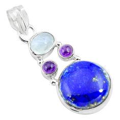 14.26cts natural blue lapis lazuli moonstone 925 sterling silver pendant p70454
