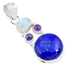 13.87cts natural blue lapis lazuli moonstone 925 sterling silver pendant p70458