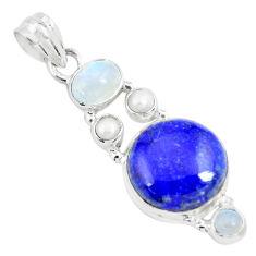 15.16cts natural blue lapis lazuli moonstone 925 sterling silver pendant p70459