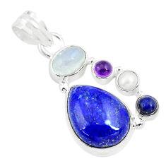 13.28cts natural blue lapis lazuli moonstone garnet 925 silver pendant p70427