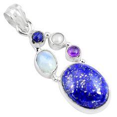 12.83cts natural blue lapis lazuli moonstone pearl 925 silver pendant p70434