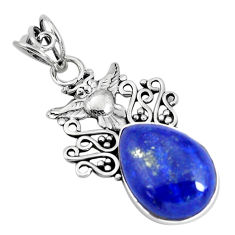13.27cts natural blue lapis lazuli pear 925 sterling silver owl pendant p59723