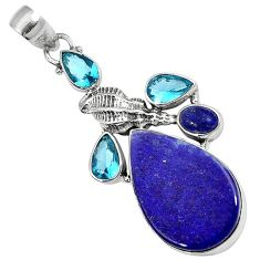 NATURAL BLUE LAPIS TOPAZ 925 STERLING SILVER SHEEP CHARM PENDANT JEWELRY H23239