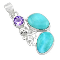 11.23cts natural blue larimar 925 silver cupid angel wings pendant p66686