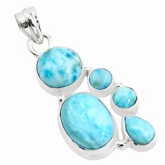 12.73cts natural blue larimar 925 sterling silver pendant jewelry p38385