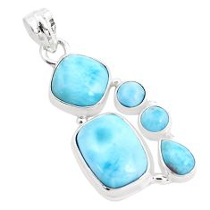 13.70cts natural blue larimar 925 sterling silver pendant jewelry p38387