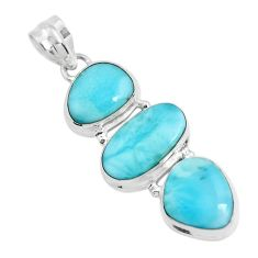 19.25cts natural blue larimar 925 sterling silver pendant jewelry p47661