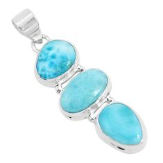 16.85cts natural blue larimar 925 sterling silver pendant jewelry p47662